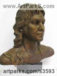 Bronze Famous People Sculptures Statues sculpture by Laura Lian titled: 'Paul McCartney (Fine bronze Bust/Head/Portrait sculpture)'
