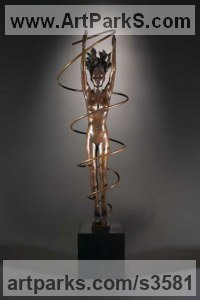 Bronze Sculptures of females by Laura Lian titled: 'The Vortex (Indoor bronze nude interior inside bronze/statuettes)'