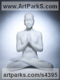 White Marble Resin Spiritual sculpture by Laura Lian titled: 'White marble Buddha Prayer (Small Modern resin statues)'