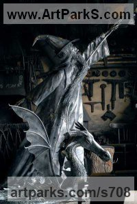 Monsters Sculpture by sculptor artist Lee Patterson titled: 'Dragon Wizard' in Steel
