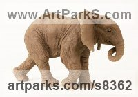 Ceramic Ceramic sculpture by Lesley Prickett titled: 'Young African Elephant (Small Elephant Calf statuette)'