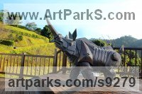 Bronze Rhino and Rhinoceros Hippo and Hippopotamus sculpture statue statuette sculpture by Li-Jen SHIH titled: 'Harley King Kong (abstract Rhino Yard garden sculpture)'