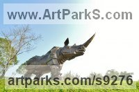 Bronze Endangered Animal Species sculpture by Li-Jen SHIH titled: 'King Kong Rhino (Massive Outside Rhinocerous sculpture)'