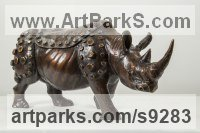 Bronze Rhino and Rhinoceros Hippo and Hippopotamus sculpture statue statuette sculpture by Li-Jen SHIH titled: 'Rhino Vessel (Small Rhinoceros Bronze sculpture statue)'