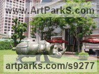 Bronze Rhino and Rhinoceros Hippo and Hippopotamus sculpture statue statuette sculpture by Li-Jen SHIH titled: 'Run to Victory (life size Asian Rhino sculpture statue)'