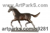 Bronze Horse Sculpture / Equines Race Horses Pack HorseCart Horses Plough Horsess sculpture by Li-Jen SHIH titled: 'Swift Horse (Trotting Mythical Ferghana Horse statuee)'