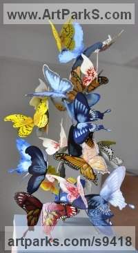 Metal Wedding Anniversary Gift or Present Sculptures Statues statuettes sculpture by Liliya Pobornikova titled: 'Butterfly (Colourful Swarm Indoor sculptures)'