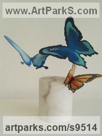 Iron and marble Love / Affection sculpture by Liliya Pobornikova titled: 'butterfly 4 (Flying Butterflies Indoor statue)'