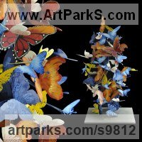 Painted iron BUTTERFLIES and Moths and Dragonflies Sculptures Statues Carvings sculpture by Liliya Pobornikova titled: 'Butterfly cloud 1 (Flock Flying Butterflies statue)'