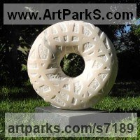 Marble sculpture Repetitive Form / Shape Abstract Sculptures / Statues sculpture by Liliya Pobornikova titled: 'Circle of life (Carved marble Round Ring garden/Yard statue statuary)'