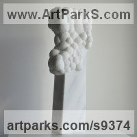 Marble sculpture Column Pillar Columnar Stele sculpture statue statuary sculpture by Liliya Pobornikova titled: 'Column of bubbles (Carved marble Modern statue)'