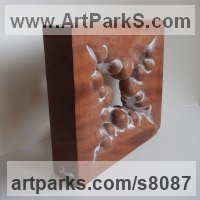 Wood sculpture Organic / Abstract sculpture by Liliya Pobornikova titled: 'Early Spring (Carved Small Square Modern statue)'