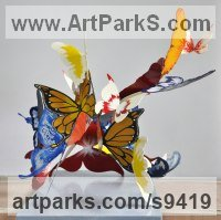 Metal Wedding Anniversary Gift or Present Sculptures Statues statuettes sculpture by Liliya Pobornikova titled: 'Fly into the sky (Butterfly Coloured sculpture)'
