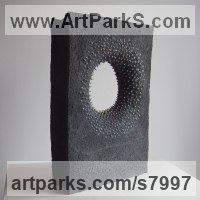 Black clay and colored porcelain Abstract Loop sculpture / statue / statuette sculpture by Liliya Pobornikova titled: 'Geometry'