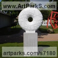 Marble sculpture Abstract Contemporary or Modern Outdoor Outside Exterior Garden / Yard Sculptures Statues statuary sculpture by Liliya Pobornikova titled: 'Infinity (Circular Round Disk Carved marble abstract Modern statue)'