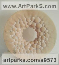 Marble sculpture Round Disk, Dish, Flat Circular Ring Shaped Sculptures / Statues statuette statuary sculpture by Liliya Pobornikova titled: 'Inspiration'