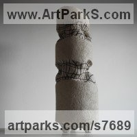 Ceramics Ceramic sculpture by Liliya Pobornikova titled: 'Layers of History (Small Minimalist Modern statue)'