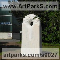 Marble sculpture Monumental sculpture by Liliya Pobornikova titled: 'Morning dew 2 (abstract marble garden sculpture)'