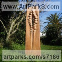 Wood sculpture Indoor Inside Interior Abstract Contemporary Modern Sculpture / statue / statuette / figurine sculpture by Liliya Pobornikova titled: 'Natural Forms (Tall Carved Vertical Wooden Opening Small garden statue)'