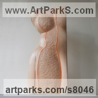 Wood sculpture Stylised Nude statue sculpture statuette ornament sculpture by Liliya Pobornikova titled: 'nude (Lifesize Carved Wood abstract female Girl`sTorso carving statue)'