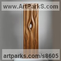 Wood sculpture Water Features, Fountains and Cascades sculpture by Liliya Pobornikova titled: 'Rain 1 (abstract Raindrops Carved Wood sculpture)'