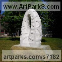 Marble sculpture Geometric Sculpture Statues statuary statuettes. Usually Abstract Contemporary Modern work sculpture by Liliya Pobornikova titled: 'Rainbow (marble abstract Arch Carving garden Outdoor sculpture statue)'