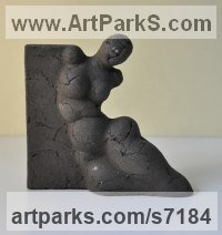 Black ceramics Figurative Abstract Modern or Contemporary Sculptures Statues statuary statuettes figurines sculpture by Liliya Pobornikova titled: 'Woman (Reclining ceramic abstract Modern nude Indoor statue statuette)'