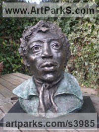 Bronze Resin. Available as foundry bronze POA Musician and Musical sculpture by Linda Preece titled: 'Jimi Hendrix (Bust Head Portrait Face sculpture statue)'