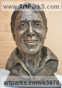 Bronze Resin, (Available as foundry bronze POA) Musician and Musical sculpture by Linda Preece titled: 'Sir Cliff Richard O.B.E. (Portrait Head Bust Face sculpture statue)'