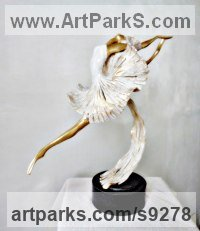 Bronze Dance Sculptures and Ballet sculpture by Liubka Kirilova titled: 'BALLERINA II (Contemporary Ballet Dancer sculpture)'