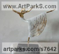 Bronze Dance Sculptures and Ballet sculpture by Liubka Kirilova titled: 'Ballet-Dancer (Small Romantic Ballerina statuette)'