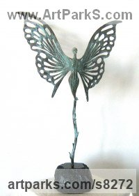 Bronze Indoor Inside Interior Abstract Contemporary Modern Sculpture / statue / statuette / figurine sculpture by Liubka Kirilova titled: 'BUTTERFLY (abstract Butterfly Ballerina statuette)'