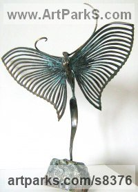 Bronze Animal Abstract Contemporary Modern Stylised Minimalist sculpture by Liubka Kirilova titled: 'BUTTERFLY II (Contemporary abstract Butterfly statue)'