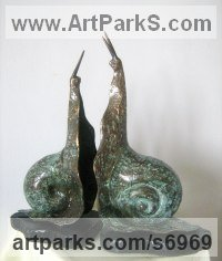 Bronze Love / Affection sculpture by Liubka Kirilova titled: '`Date` (Humerous bronze Snail Lovers sculpture)'