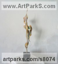 Bronze Birds Abstract Contemporary Stylised l Minimalist Sculpture / Statues sculpture by Liubka Kirilova titled: 'FIREBIRD (abstract Contemporary Small Indoor statue)'
