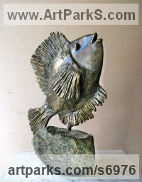 Bronze, stone Humorous Witty Amusing Lighthearted Fun Jolly Whimsical Sculptures Statues statuettes figurines sculpture by Liubka Kirilova titled: 'Fish (Little Contemporary Happy Singing Fish statue)'