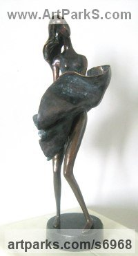 Bronze Happiness / Joy / Exuberance / Wild Pleasure sculpture by sculptor Liubka Kirilova titled: 'Girl playing with wind (Bronze Young Lady 7 Swirling Skirt statuette)'