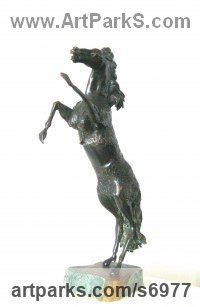 Bronze Farm Yard sculpture by Liubka Kirilova titled: 'Mare (Bronze Small/Little Rearing Horse statues)'