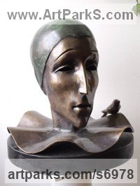 Bronze Modern Abstract Contemporary Avant Garde Sculptures or Statues or statuettes or statuary sculpture by Liubka Kirilova titled: '`Pierro` (bronze Stylised Harlequin Head statue)'