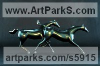 Lost Wax Bronze Horses Abstract / Semi Abstract / Stylised / Contemporary / Modern Statues Sculptures statuettes sculpture by Loet Vanderveen titled: 'Galloping Horses (Small bronze Post Modern Minimalist Indoor statues)'