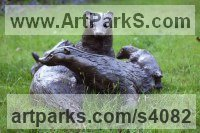 Bronze Badger, Otter, Beaver, Weasel, Stoat, Pine Martin, Wombat sculpture by Lorne Mckean titled: 'Badger Family (bronze life size Group garden Outdoor statue sculpture)'