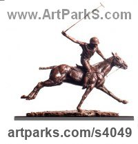 Bronze Horse and Rider / Jockey Sculpture / Equestrian sculpture by Lorne Mckean titled: 'Going for Goal (Little Polo Pony Player statuettes)'