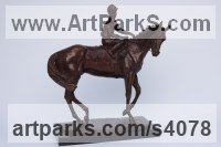 Bronze Horse and Rider / Jockey Sculpture / Equestrian sculpture by Lorne Mckean titled: 'Ready for the Off (bronze Horse and Jockey statuettes)'