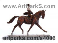 Bronze Horse and Rider / Jockey Sculpture / Equestrian sculpture by Lorne Mckean titled: 'Lee Pearson Dressage (Small bronze Horse statuettes)'