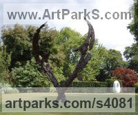 Bronze Abstract Modern Contemporary Avant Garde Sculptures Statues statuettes figurines statuary both Indoor Or outside sculpture by Lorne Mckean titled: 'Space Dance (Tall abstract Contemporary Modern Shard bronze statue)'