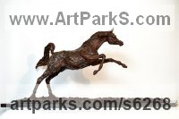 Foundry Bronze Animals in General Sculptures Statues sculpture by Lorne Mckean titled: 'Arab Stallion (Om El Bahreyn Small Prancing Bronze statuette/sculpture)'