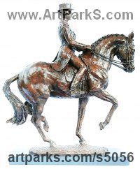 Bronze Horse and Rider / Jockey Sculpture / Equestrian sculpture by Lorne Mckean titled: 'Carl Hester (Utopia performing Piaffe Small statue/sculpture/statuette)'