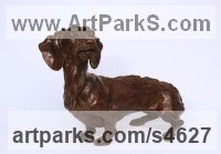 Bronze Dogs sculpture by Lorne Mckean titled: 'Dachshund (Bronze Commission Pet sculpture statuette)'