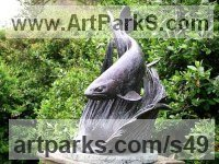 Bronze Sundials sculpture by Lorne Mckean titled: 'Trout Sundial (Lifesize Bronze Fish garden sculpture)'