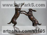 Bronze Hares and Rabbits sculpture by Lucy Kinsella titled: 'Boxing Hares (Small/Little Bronze Mad March statuettes, sculptures)'